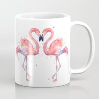 flamingo Mugs featuring Flamingo  by Olechka