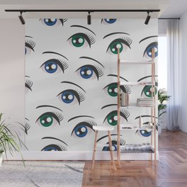 Eyes on white Wall Mural
