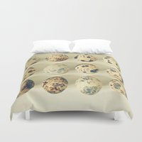 eggs Duvet Covers featuring Quail Eggs by Cassia Beck