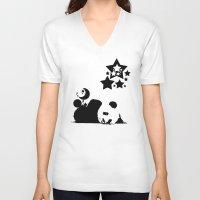 sleep V-neck T-shirts featuring Sleep by Panda Cool