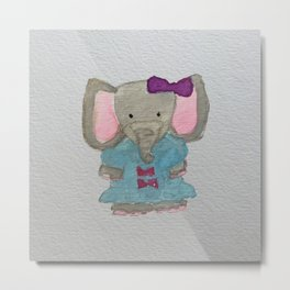 Elephant Jungle Friends Baby Animal Water Color Metal Print