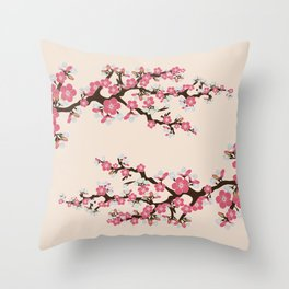 Japanese Sakura Cherry Blossoms (ivory/pink) Throw Pillow