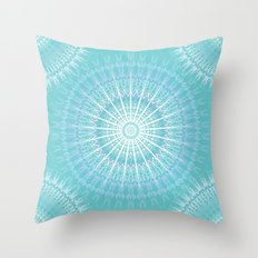 Turquoise Purple Boho Mandala Throw Pillow