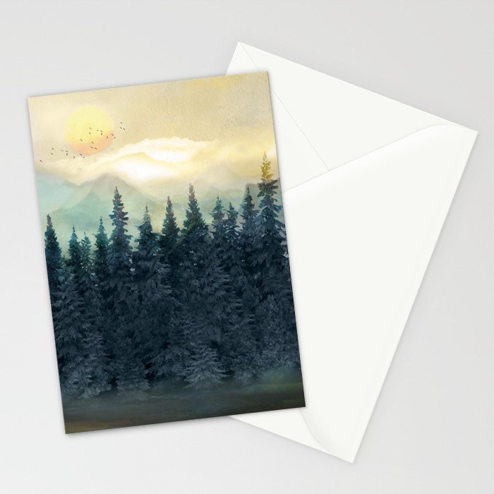 Forest Under the Sunset II Stationery Cards