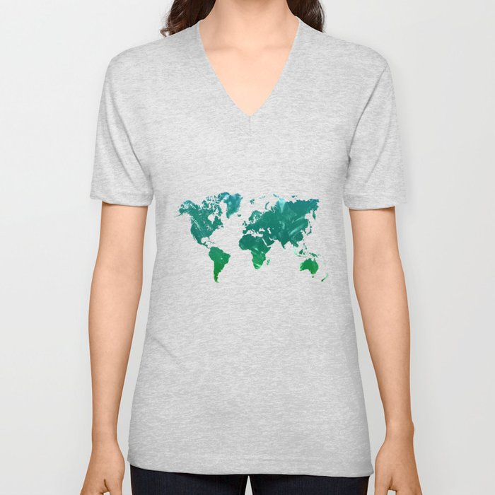 Green watercolor world map Unisex V-Neck