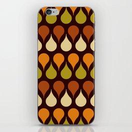 Brown retro 60s color drop pattern iPhone Skin