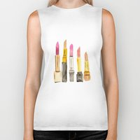 lipstick Biker Tanks featuring Lipstick by Sweet Colors Gallery
