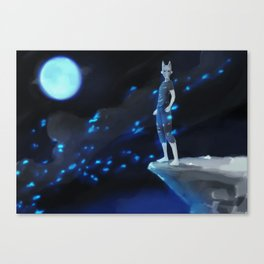 Wild boy with Wolf Pagan Mask Canvas Print