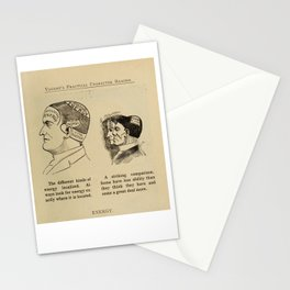 Energy - Vintage Art Print - Phrenology Diagram from Vaught's Practical Character Reader (1902) Stationery Cards