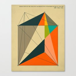 DISSECTION OF THE TRIANGULAR PRISM INTO 3 PYRAMIDS OF EQUAL VOLUME Canvas Print
