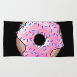 Pink Donut on Black Beach Towel