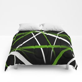Seamless Grass Green and White Stripes on A Black Background Comforters