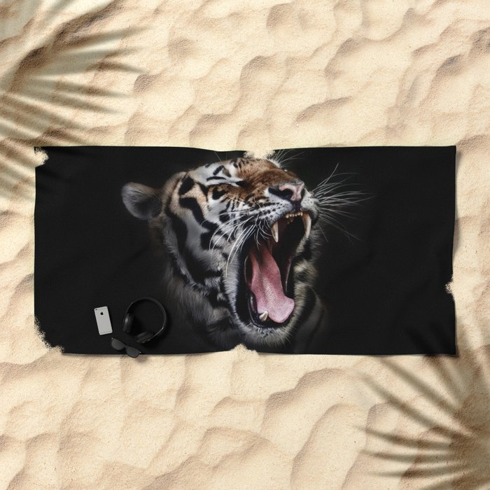 Ferocious Tiger Beach Towel