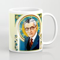 kurt rahn Mugs featuring Kurt Gödel by Renee Bolinger