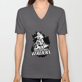 Whoever Brakes Loses Downhill Racing Unisex V-Neck