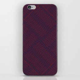 Cris Cross Red Weave on Blue iPhone Skin