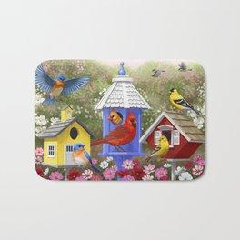 Birds and Colorful Bird Houses Bath Mat