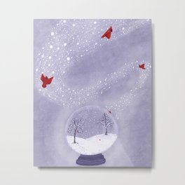 Cardinals in Snow Globe Metal Print