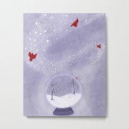 Cardinals in Snow Globe Metal Print