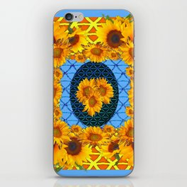 DECORATIVE  BABY BLUE ART & YELLOW SUNFLOWERS iPhone Skin