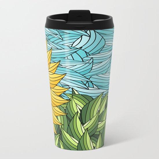 SUNNY DAY (abstract flowers) Metal Travel Mug