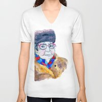 soviet V-neck T-shirts featuring Soviet babushka by Miurita