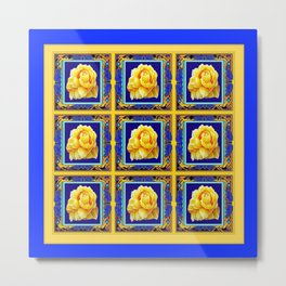 BLUE FRAMED YELLOW YELLOW GARDEN FLOWERS ART Metal Print
