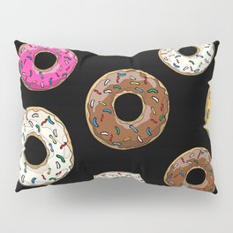 Funfetti Donuts - Black Pillow Sham