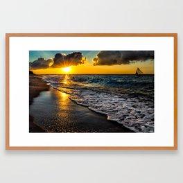 Puka Beach Sunset Framed Art Print