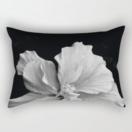 Hibiscus Drama Study - Black & White High Impact Photography Rectangular Pillow
