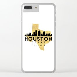 HOUSTON TEXAS SILHOUETTE SKYLINE MAP ART Clear iPhone Case