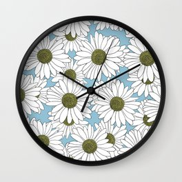 Daisy Blue Wall Clock