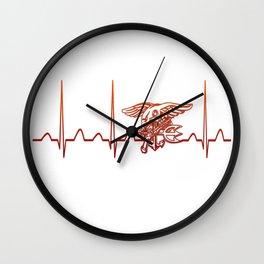 Navy Heartbeat Wall Clock
