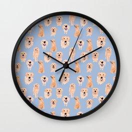Golden Retrievers on Blue Wall Clock