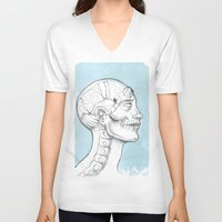 grid V-neck T-shirts featuring Grid by isberg illustration