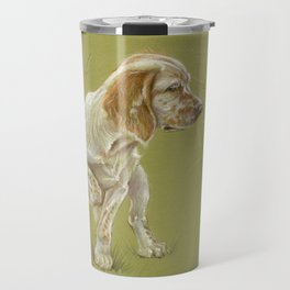 The First Spring Butterfly English Setter Puppy Pastel Drawing on green background Travel Mug