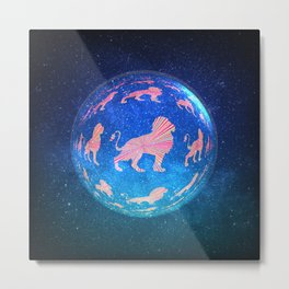 Lion World Abstract Galaxy Graphic Design Metal Print