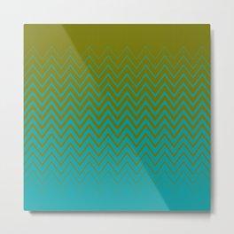 gradient chevron pattern aqua olive Metal Print