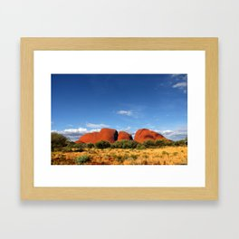 A landscape shot of Kata Tjuṯa / Mount Olga at Uluru in the outback of Australia Framed Art Print