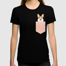 Shelby - Welsh Corgi gifts with corgi illustration for dog people and corgi owner gifts dog gifts MEDIUM Black Womens Fitted Tee
