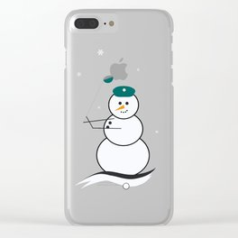 Golfing Snowman Clear iPhone Case