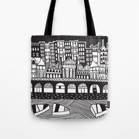 england Tote Bags featuring Brighton, England by Caroline Rees