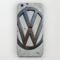 vw bus iPhone & iPod Skins featuring Rusty VW Bus Symbol by wildVWflower
