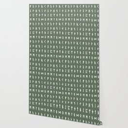 Nordic Runes // Finlandia Green Wallpaper