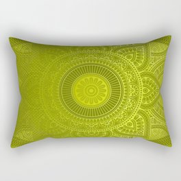 """Green Lemon Pattern Mandala Polka Dots"" Rectangular Pillow"