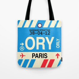 ORY Paris (Orly) • Airport Code and Vintage Baggage Tag Design Tote Bag