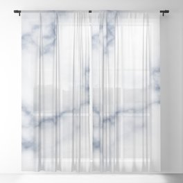 Marble White & Blue Sheer Curtain