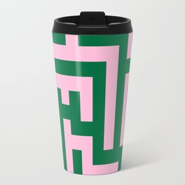 Cotton Candy Pink and Cadmium Green Labyrinth Travel Mug