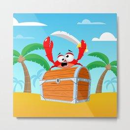 Pirate Crab Metal Print