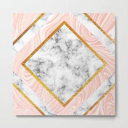 Gold and marble Metal Print